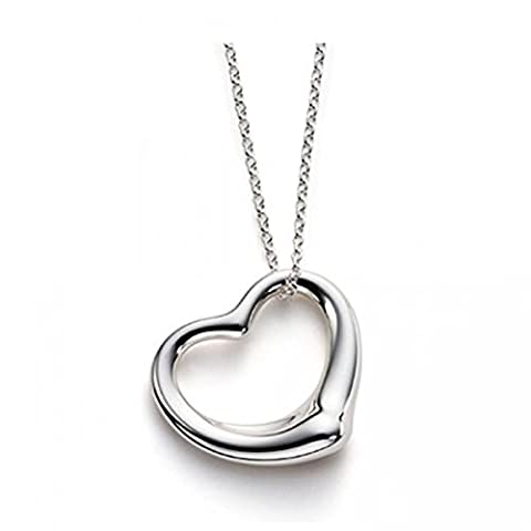 Floating Heart Necklace - Medium - 925 Sterling Silver Plated - Designer Inspired