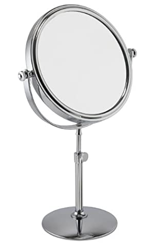 5x Magnification Chrome Adjustable Pedestal Mirror With Round Base
