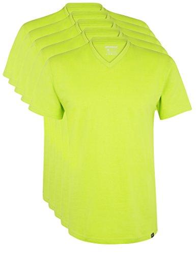 Ultrasport Herren Sport Freizeit T-Shirt mit V-Ausschnitt 5er Set, Grün, S