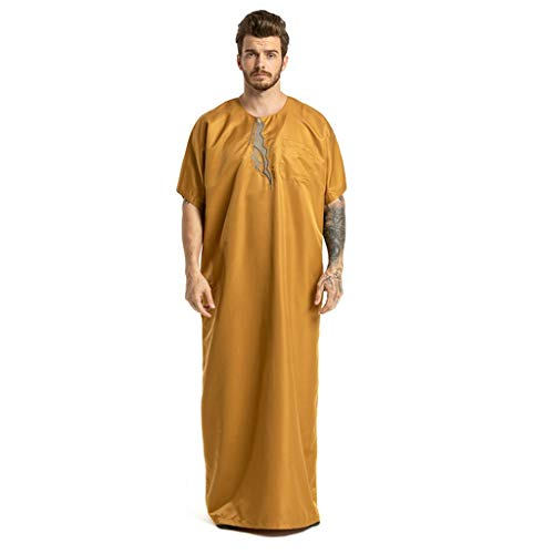 Kostüm Saudi Arabien Frauen - mxjeeio Muslimische Männer Kurze Ärmel Roben Saudi Arabien Kostüm Casual Männlichen Kaftan Stickerei Kleidung