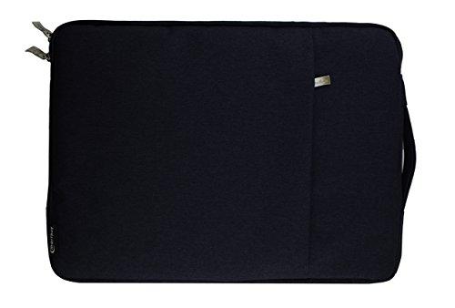 Emartbuy Universal 13.3 - 14.0 Inch Dunkelblau Premium Stoff Tragetasche Deckel mit Einziehbarer Griff und Reißverschlusstasche Geeignet für Ausgewählte Selected Laptops Notebooks Ultrabooks Aufgeführt Unten (Unten Tasche)