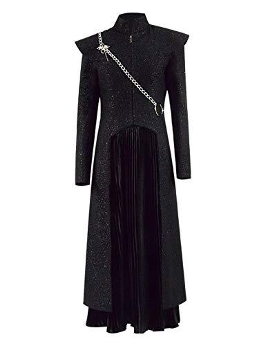 Zhangjianwangluokeji Daenerys Targaryen schwarzes Kleid mit grauem Cape für Damen (Farbe 1, XS) (Daenerys Staffel 5 Kostüm)