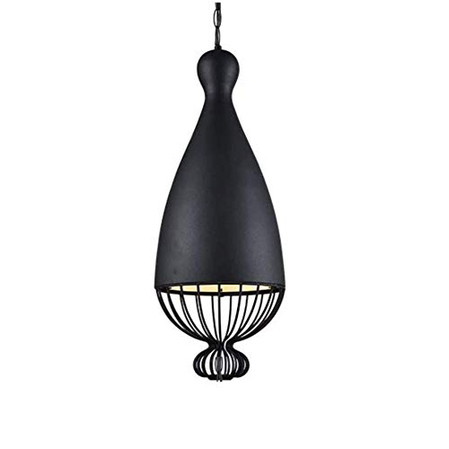 Oevino Einfach Schmiedeeisen Einzelkopf Kronleuchter Kreative Showcase Licht Nordic Persönlichkeit Vogelkäfig Licht Hängeleuchte (Color : B-Black, Size : 26x67.5cm(10x27inch)) -