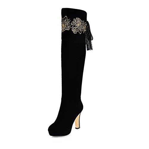 Sexy sopra che il ginocchio stivali d'inverno/ stivali/ signora stivali tacco alto grosso tacchi-A Lunghezza piede=24.8CM(9.8Inch)