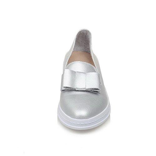 AgooLar Femme Tire Rond à Talon Bas Pu Cuir Chaussures Légeres Argent