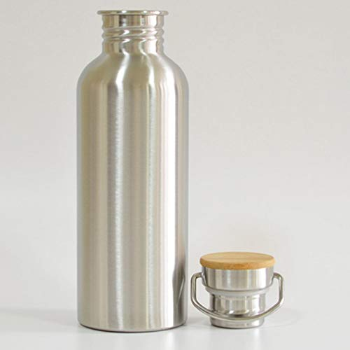 Biyi Durable Edelstahl Trinkflasche Bambus Cap Dicht Jar Sportflasche für Rad Fahren Reiten Camping Khan Steam (Silber) (750 ml)