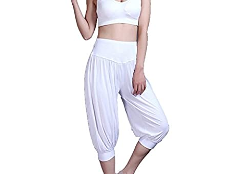 Baymate Pantalon de Sport Yoga Pantacourt Elastique Extensible - Baggy Pantalon Sarouel Femme Blanc XL