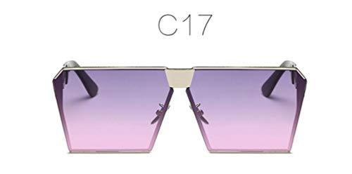 HPPL Mode Farbe Frauen Sonnenbrille einzigartige Oversize-Schild UV400 Gradienten Vintage Brillengestell für Frauen Sonnenbrille Frauen, c17
