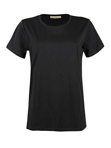 ARIX & FASHION T-Shirt Girocollo Donna Nero Cotone