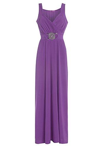 Neue Damen Plus Größe Schnalle Bridesmaid Ball Abend lang Maxi Kleid Gr. 16–22 Violett