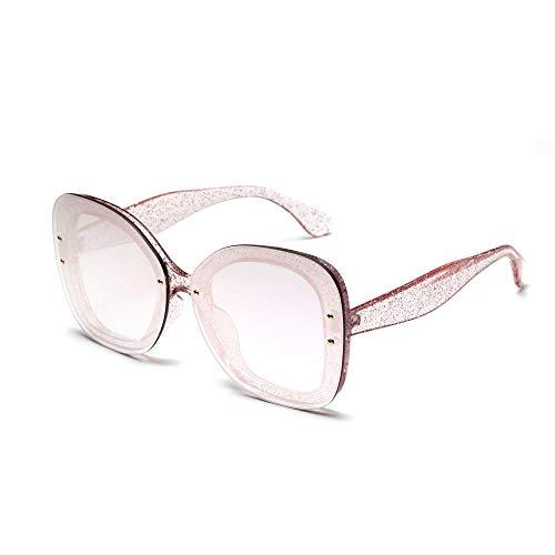 Drreny Large Frame Transparent Glitter Sonnenbrillen Exquisite Sonnenbrillen European and American Popular Damen Zarte Sonnenbrille Pink