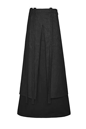 Punk Rave Men's Black Gothic Steampunk Retro Half Long Skirt Cosplay Party Costume L