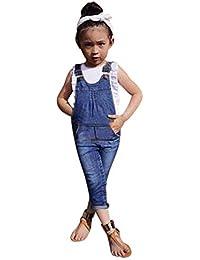 SamMoSon ☀☀Pantalones para Bebés Niña, 2 Piezas para Niños Pequeños Bebés Niñas Trajes Ropa Chaleco + Pantalones De Overoles Conjunto