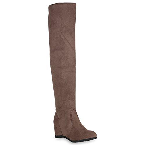 Stiefelparadies Damen Schuhe Overknees Leicht Gefütterte Stiefel Keilabsatz Wedges 149066 Khaki 36 Flandell