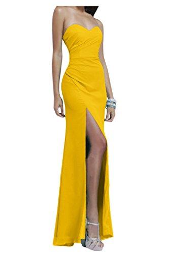 Gorgeous Bride Modisch Herz-Ausschnitte Lang Etui Chiffon Lang Schlitz Abendkleider Festkleider Ballkleider Gelb