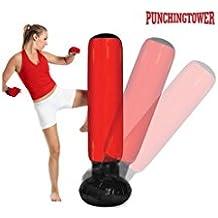Apolyne Punching Tower Saco de Boxeo de Pie con Inflador, Rojo / Negro, Talla Única