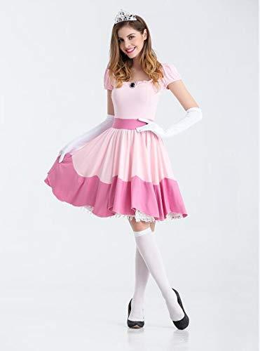 Weibliche Kostüm Niedliche Halloween - ZYJT Halloween Dame Weibliches Erwachsenes Kostüm Halloween Weibliches Rosa Kleiderkostüm-Parteidekoration des Netten Kostüms (Color : Pink, Size : L)
