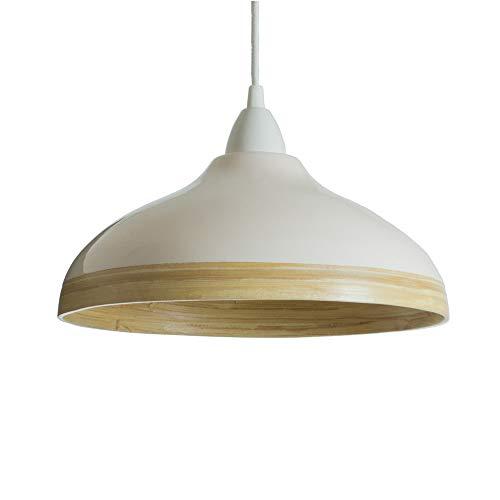 Pantalla Para Lámpara Colgante de Techo de Bambú Natural con Barniz Brillante Exterior (Conexiones Eléctricas No Incluidas) – Crema, 30 Centímetros