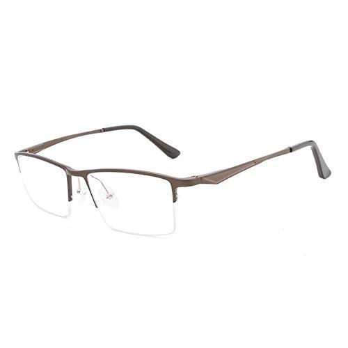 New Aluminium Magnesium Halbrahmen Ultra hellblau Flache Spiegel Brillengestell Mode Hipster Männer Brille (Color : Brown)