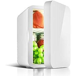 Mini Réfrigérateur Portable 6 litres, Mini Frigo 2 en 1 Avec Prise 12/220 V,Convient pour Les Maisons et Les Voitures,carandhomeuse