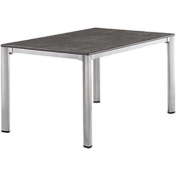 Sieger 1770-51 KT Exclusiv-Tisch mit Puroplan-Platte, 140 x 90 cm, Gestell Aluminium graphit, Tischplatte Beton dunkel