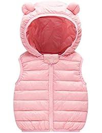 ARAUS Gilet con Cappuccio Cappotto Senza Manica da Bambini Zip Up Giubbotto  Impermeabile Pesante Invernale 0 98417dd7672
