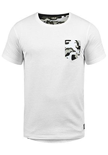 Muster Streifen T-shirts (!Solid Calvin Herren T-Shirt Kurzarm Shirt Mit Rundhalsausschnitt Und Camouflage-Brusttasche, Größe:L, Farbe:White Grey (G0001))