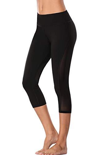 Sociala Damen Yoga Capris hohe Taillen-Trainings-Gamaschen aktive Hosen groß schwarz mit ineinander greifen # 1 - Schwarz Training Capris