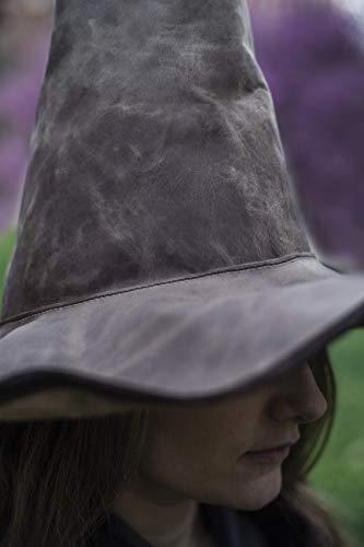 Hut - Mittelalterlicher Hexenhut, aus Leder, Braun, L ()