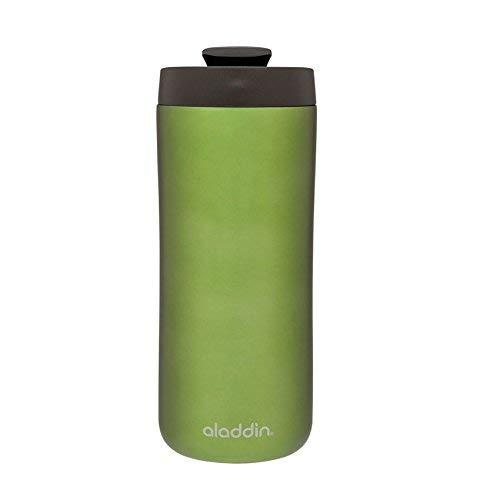 Aladdin Edelstahl-Thermobecher, 0.35 Liter, Grün, Doppelwandig Vakuumisoliert, Auslaufsicher, Spülmaschinenfest, Kaffeebecher Isolierbecher Thermo-Becher