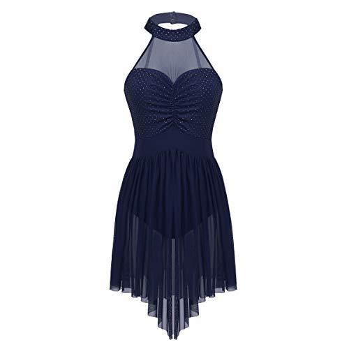 (dPois Damen Ärmellos Ballett Kleid Neckholder Tanzkleid Frauen Ballettanzug mit Asymmetrisch Tüllrock Ballerina Kostüm Ballett Tanz Trikot Body XS-XL Marineblau 32-34)