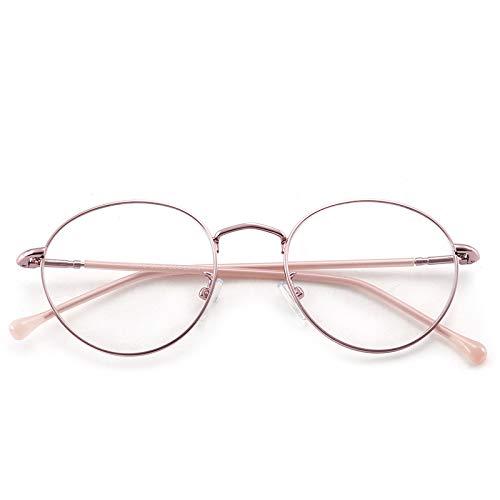 Yangjing-hl Metall runden flachen Spiegel Männer und Frauen Retro runden Rahmen Brillengestell Golddraht Brillengestell rosa Rahmen