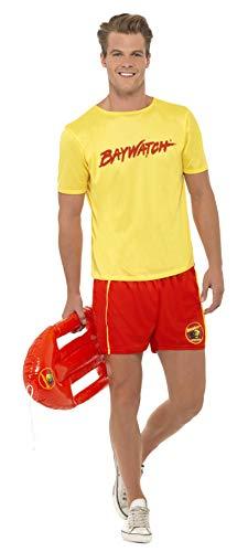 Smiffys, Herren Baywatch Strand Kostüm, Oberteil und Shorts, Größe: M, 32868 (Herren Baywatch Rettungsschwimmer Kostüm)
