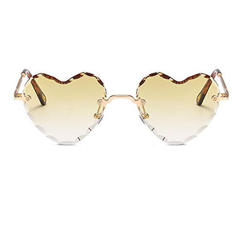 Yuanz Liebe Herz Sonnenbrille Frauen Randlos Metall Sonnenbrille Weiblich Rosa Grau Farbverlauf Sonnenbrille Uv400,C7