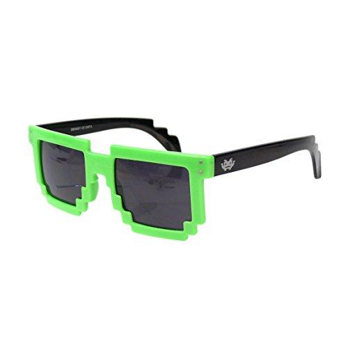 Preisvergleich Produktbild EL-Sunprotect® Nerdbrille Brille Nerd Sonnenbrille Hornbrille Exclusiv Geekinvader Gamer Geek 8 Bit 8-Bit Neon Grün Schwarz