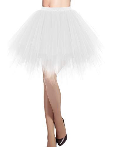 Dresstells Damen Tüllrock 50er Rockabilly Petticoat Tutu Unterrock Kurz Ballett Tanzkleid Ballkleid Abendkleid Gelegenheit Zubehör White - Einfach Süßes Paar Kostüm