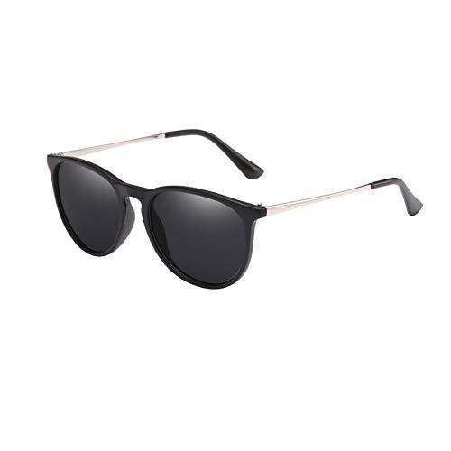 TIANKON Runde Sonnenbrille Frauen männer Retro schwarz optische Rahmen Brille weiblich uv400,C01 Schwarz Graud