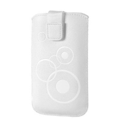 Handytasche Circle Weiss geeignet für Doro Primo 365 Handy Schutz Hülle Slim Case Cover Etui Weiss mit Klettverschluss