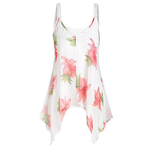 MRULIC 2 Stück Damen Tank Tops Übergröße Mode Frauen Floral Bedruckte ärmellose Camis Weste Tops Bluse Sommer Chiffon Crops(A-Weiß,EU-40/CN-L) -