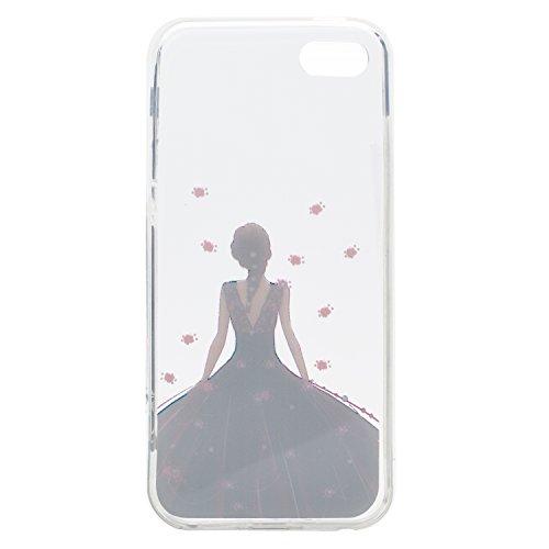 iPhone 5S / iPhone SE Hülle, Voguecase Silikon Schutzhülle / Case / Cover / Hülle / TPU Gel Skin für Apple iPhone 5 5G 5S SE(Hut Mädchen) + Gratis Universal Eingabestift Schwarzes Kleid Mädchen 01