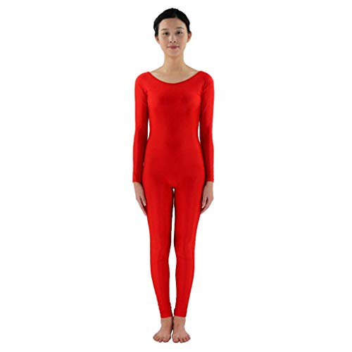 Homyl Männer Frauen Ganzkörperanzug Atmungsaktive Catsuit Anzug Suit Kostüm Sportbody Fitness Ballett Trikot Ballettanzug Tanz-Body - rot, 3XL