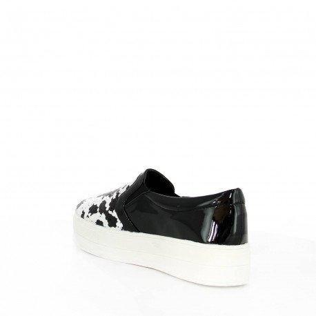 Ideal Shoes - Slip-on verni et incrusté de sequins Paulina Noir