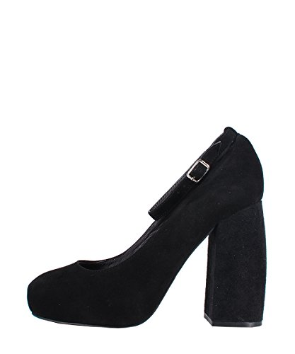 Jeffrey Campbell Phair Suede Black Shoes - Sandali Neri Pelle Scamosciata Black