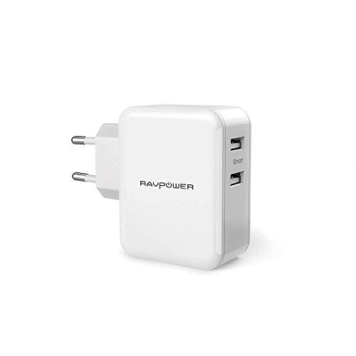 RAVPower Cargador USB Portátil 24W, Cargador de Red Doble Puertos USB