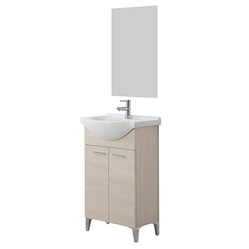 Mobile bagno moderno a terra per bagno piccolo colore larice 56 cm con 2 ante e specchio