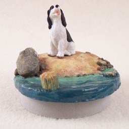 Black & White Springer Spaniel Candle Topper Tiny One A Day on the Beach by Conversation Concepts