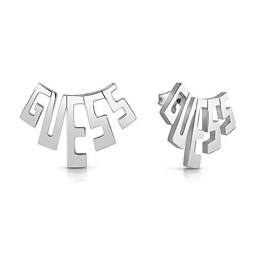 Ratet mal, G-Platz Ohrringe chirurgischer Edelstahl Rhodium GUESS Logo UBE78031 [AC1131] plattiert