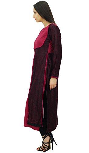 Bimba concepteur paisley print hiver droite kurti kurta pashmina mélange blouse noir et magenta