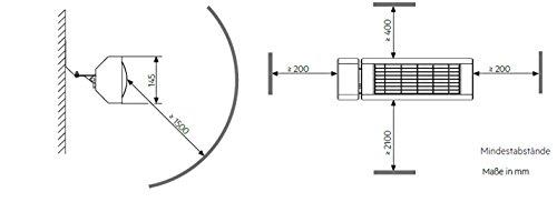 AEG Kurzwellen-Heizstrahler IR Comfort 2024 H mit Hirschmannstecker, 2000 W, hocheffiziente Qualitäts-Goldröhre, 229955 - 5