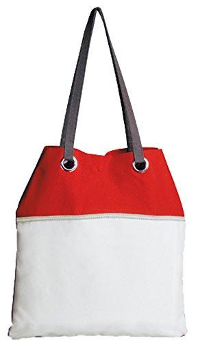 Borsa mare tempo libero mod. PORTO CESAREO - 100% poliestere 600D - Fermento Italia Red/White